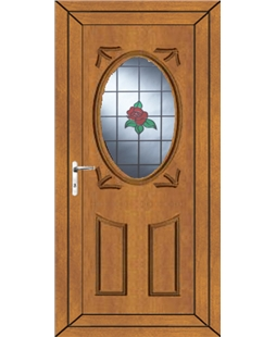 Stoke Single Rose uPVC Door In Oak