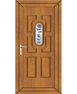 Cheltenham Single Rose uPVC High Security Door In Oak