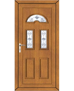 Brighton Crystal Tulip uPVC High Security Door In Oak