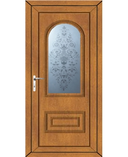 Epsom Victorian Sandblast uPVC High Security Door In Oak