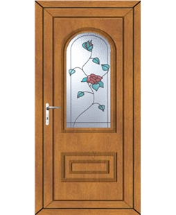 Epsom Wild Rose uPVC High Security Door In Oak