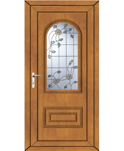 Epsom Yellow Rose uPVC High Security Door In Oak