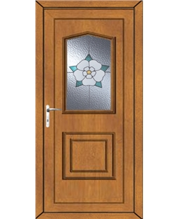 Portsmouth Yorkshire Rose uPVC High Security Door In Oak