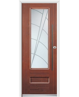 Ultimate Vogue Rockdoor in Mahogany with Ocean Glazing and Bar Handle