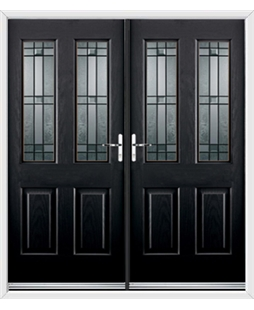 Jacobean French Rockdoor in Onyx Black with Apollo