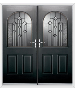 Kentucky French Rockdoor in Onyx Black with Aquarius Glazing