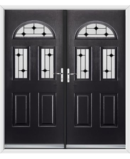 Tennessee French Rockdoor in Onyx Black with Black Diamonds