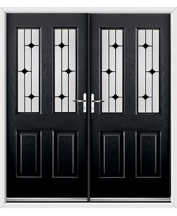 Jacobean French Rockdoor in Onyx Black with Black Diamonds