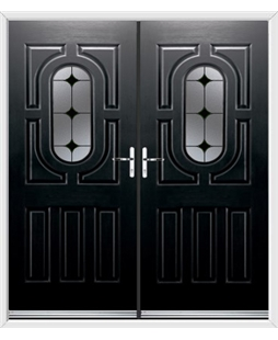 Arcacia French Rockdoor in Onyx Black with Black Diamonds