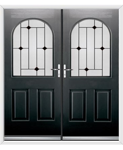 Kentucky French Rockdoor in Onyx Black with Black Diamonds