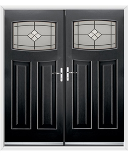 Newark French Rockdoor in Onyx Black with Bright Star Glazing