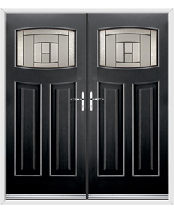 Newark French Rockdoor in Onyx Black with Citadel Glazing