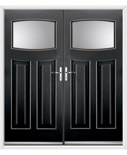 Newark French Rockdoor in Onyx Black with Glazing