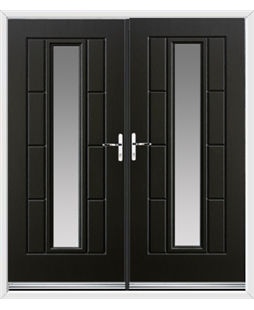 Vermont French Rockdoor in Onyx Black with Glazing