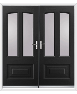 Illinois French Rockdoor in Onyx Black with Glazing