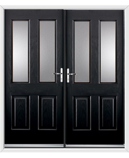Jacobean French Rockdoor in Onyx Black with Glazing