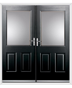 Windsor French Rockdoor in Onyx Black with Glazing