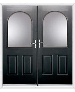 Kentucky French Rockdoor in Onyx Black with Glazing