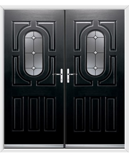Arcacia French Rockdoor in Onyx Black with Crystal Bevel