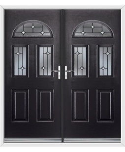 Tennessee French Rockdoor in Onyx Black with Crystal Bevel
