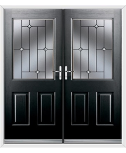 Windsor French Rockdoor in Onyx Black with Crystal Bevel