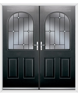 Kentucky French Rockdoor in Onyx Black with Crystal Bevel