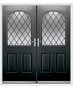Kentucky French Rockdoor in Onyx Black with Diamond Lead