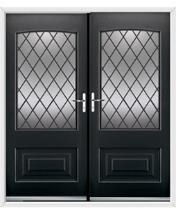 Portland French Rockdoor in Onyx Black with Diamond Lead