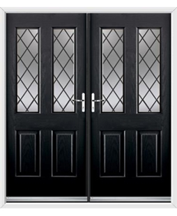 Jacobean French Rockdoor in Onyx Black with Diamond Lead