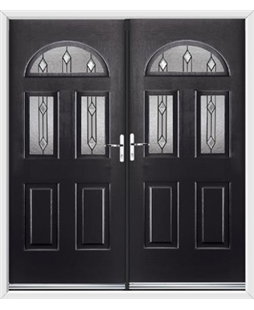 Tennessee French Rockdoor in Onyx Black with Dorado Glazing