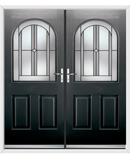 Kentucky French Rockdoor in Onyx Black with Ellipse