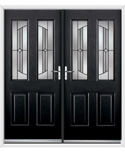 Jacobean French Rockdoor in Onyx Black with Ellipse