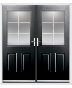 Windsor French Rockdoor in Onyx Black with White Georgian Bar
