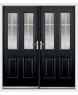 Jacobean French Rockdoor in Onyx Black with White Georgian Bar