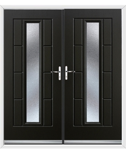 Vermont French Rockdoor in Onyx Black with Gluechip Glazing