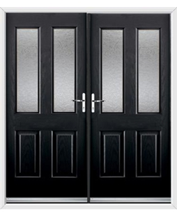 Jacobean French Rockdoor in Onyx Black with Gluechip Glazing