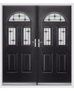 Tennessee French Rockdoor in Onyx Black with Green Diamonds