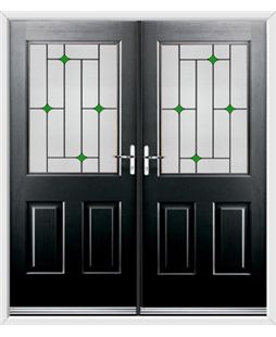 Windsor French Rockdoor in Onyx Black with Green Diamonds