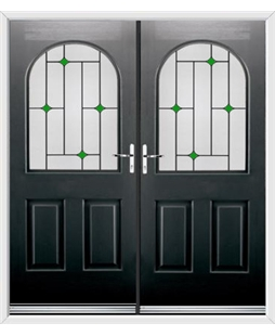 Kentucky French Rockdoor in Onyx Black with Green Diamonds