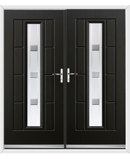 Vermont French Rockdoor in Onyx Black with Grey Shades