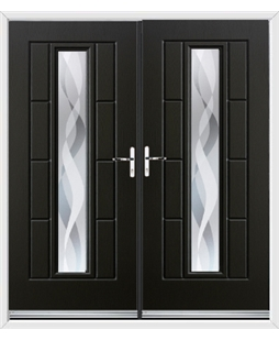 Vermont French Rockdoor in Onyx Black with Haze