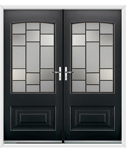 Portland French Rockdoor in Onyx Black with Horizon