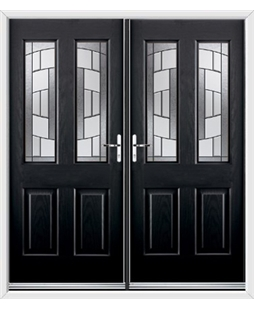 Jacobean French Rockdoor in Onyx Black with Inspire