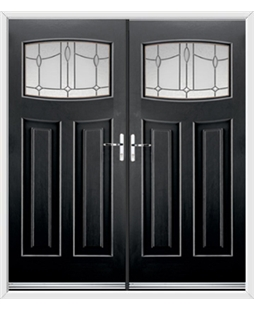 Newark French Rockdoor in Onyx Black with Lantern Glazing