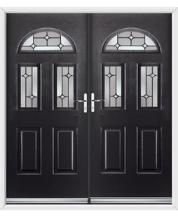 Tennessee French Rockdoor in Onyx Black with Linear