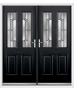 Jacobean French Rockdoor in Onyx Black with Linear