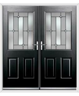 Windsor French Rockdoor in Onyx Black with Linear