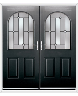 Kentucky French Rockdoor in Onyx Black with Linear