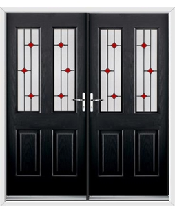 Jacobean French Rockdoor in Onyx Black with Red Diamonds