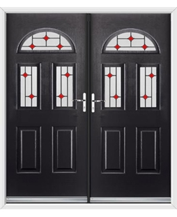 Tennessee French Rockdoor in Onyx Black with Red Diamonds
